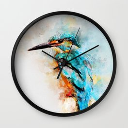 Watercolor kingfisher bird Wall Clock