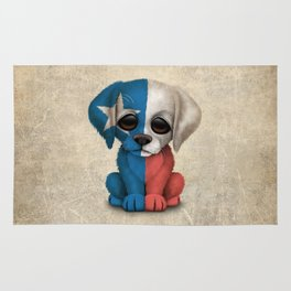 Cute Puppy Dog with flag of Texas Rug