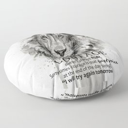 Lion Courage Motivational Quote Watercolor Painting Floor Pillow