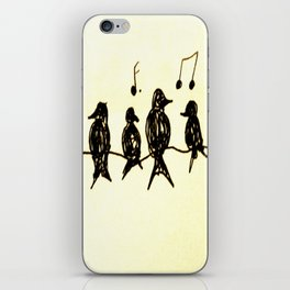 Birds on a Wire Ink Doodle iPhone Skin