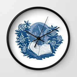 Orcas Island Map Book Rhododendron Drawing Wall Clock