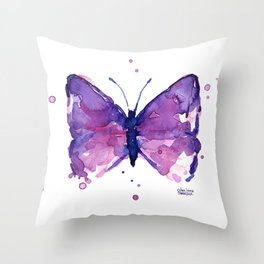 Butterfly Purple Watercolor Animal Throw Pillow
