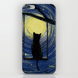 starry cat night iPhone Skin