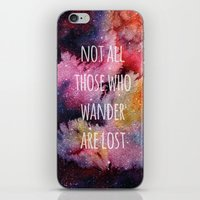 not all who wander iPhone & iPod Skins featuring Not All Who Wander by MichelleLynne