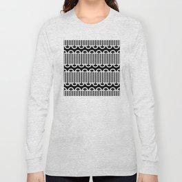 Geometric Pattern #114 (white lines curves) Long Sleeve T-shirt
