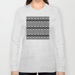 Geometric Pattern 121 (white lines curves) Long Sleeve T-shirt