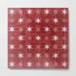 White Snowflakes on Red Christmas Pattern Metal Print