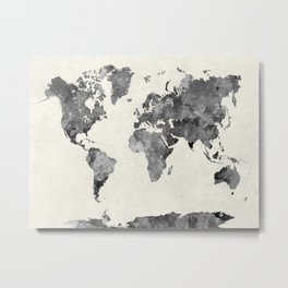 World map in watercolor gray Metal Print