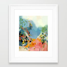 garden with sea view and olive tree Framed Art Print