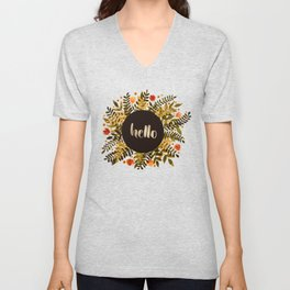 Hello flowers and branches - ochre and sap green Unisex V-Neck