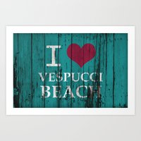 grand theft auto Art Prints featuring Los Santos I love Vespucci Beach Grand Theft Auto by KeenaKorn