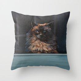 Ragdoll Cat Blue Eyes Inside (screen door with gingerbread)  Throw Pillow
