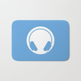 Symbol: Audiophile blue & white with text Bath Mat