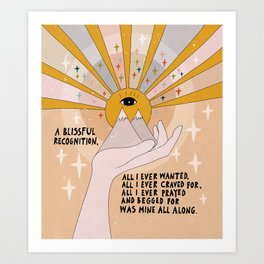 A blissful recognition Art Print