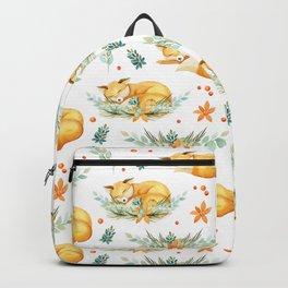 Modern orange teal watercolor fox floral pattern Backpack