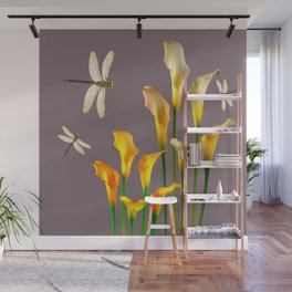 GOLD CALLA LILIES & DRAGONFLIES ON GREY Wall Mural