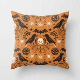 All Hallows' Eve - Orange Black Halloween Throw Pillow
