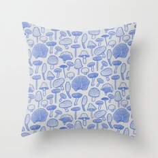 Hand Drawn Mushrooms Collage Throw Pillow