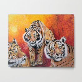 Three Lucky Tigers Metal Print