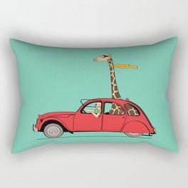 Giraffe 2CV on the wind Rectangular Pillow