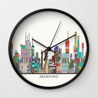 melbourne Wall Clocks featuring Melbourne by bri.buckley