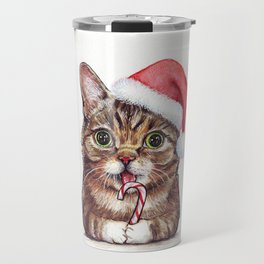 Christmas Cat in Santa Hat Whimsical Holiday Animals Travel Mug