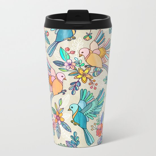 Whimsical Summer Flight Metal Travel Mug