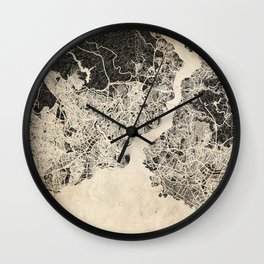 istanbul map ink lines Wall Clock