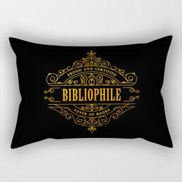 Gold Bibliophile on Black Rectangular Pillow