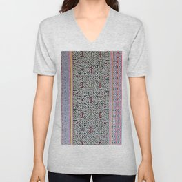 Song to Bring Blessings to a Marriage - Traditional Shipibo Art - Indigenous Ayahuasca Patterns Unisex V-Neck