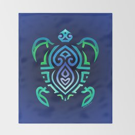 Tribal Turtle Ombre Background Throw Blanket