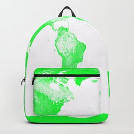 woRld Map Bright Green & White Backpack