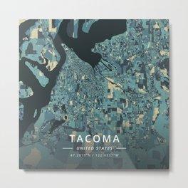 Tacoma, United States - Cream Blue Metal Print
