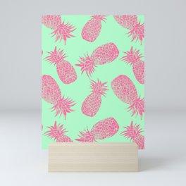 Pineapple Pattern - Mint & Crimson Mini Art Print
