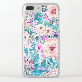WAHINE WAYS Aqua Tropical Floral Clear iPhone Case