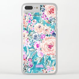 WAHINE WAYS Aqua Tropical Floral Clear iPhone Case