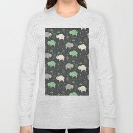 Seamless pattern with cute baby buffaloes and native American symbols, dark gray Long Sleeve T-shirt