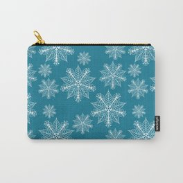 Christmas snowflakes mosaic blue Carry-All Pouch