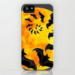 HALLOWEEN BAT INFESTED HAUNTED MOON ART DESIGN iPhone Case