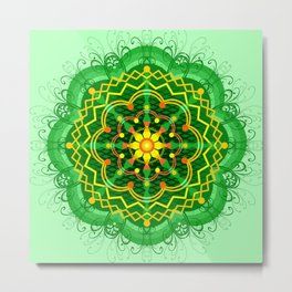 Mandala Zen Greenery Seamless Pattern Design Metal Print