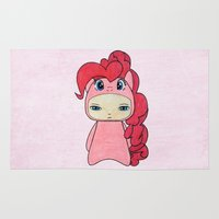 mlp Area & Throw Rugs featuring A Boy - Pinkie Pie by Christophe Chiozzi