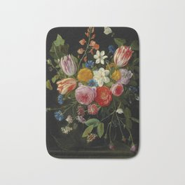 """Jan van Kessel de Oude """"Tulips, peonies, chicory, carnations, cherry blossom and other flowers"""" Bath Mat"""