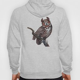 Great Horned Owl with Headphones Hoody