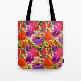 Elegant neon pink lavender orange watercolor floral Tote Bag