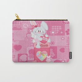 Valentines Bunny and Conversation Hearts Candy Carry-All Pouch