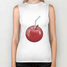 red Apple and a cocktail straw Biker Tank