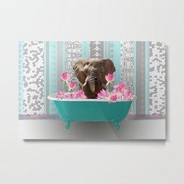 Elefant in bathtub with lotos flowers #society6 #animals Metal Print