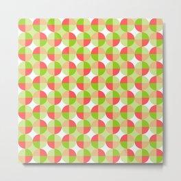 Circle Zigzag (Green & Pink) Metal Print