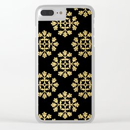 Gold on Black Repeating Tile Digital Design Clear iPhone Case
