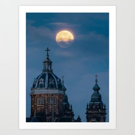 Full Moon + Church | Blue Sky with Clouds in Amsterdam | Culture | Night Photography  Art Print